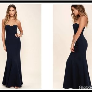 Lulu's lady love navy blue Strapless maxi gown